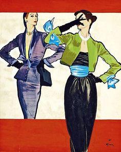 The Blue Bows, illustration by Renè Gruau, ca. 1950
