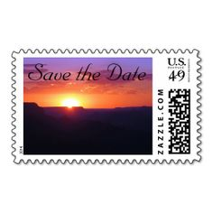 Announce your special day with this stunning sunset scene custom Save the Date US postage stamp showing the splendor of Grand Canyon National Park...