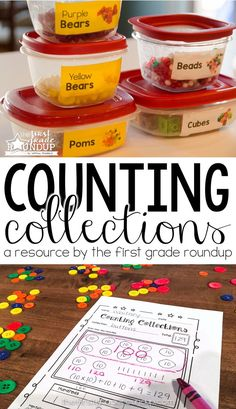 Do your students struggle with counting or understanding base ten? Counting collections is the perfect solution! This resource will help you get organized, set up, label and prepare for counting collections all year! Plus a recording sheet for Kinder Kindergarten Math Games, Preschool Math, Teaching Math, Teaching Ideas, Classroom Activities, Classroom Ideas, 1st Grade Math, Second Grade, Grade 1