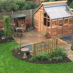 Both in one building: half is a shed for tools and bicycles the other half is a . - Both in one building: half is a shed for tools and bicycles the other half is a greenhouse. Greenhouse Shed Combo, Greenhouse Plans, Greenhouse Wedding, Garden Design Plans, Vegetable Garden Design, Backyard Projects, Garden Projects, Back Gardens, Outdoor Gardens