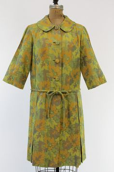 1960s Dress S/M / 60s Floral Dress Coat / The by CrushVintage