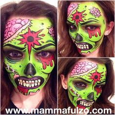Great selection of Halloween Party at affordable prices, quality guarantee. Zombie Face Paint, Pop Art Zombie, Zombie Makeup, Fx Makeup, Glow Makeup, Zombie Prom, Zombie Walk, Zombie Cartoon, Scary Art