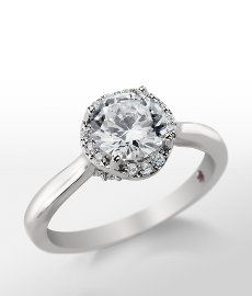 Monique Lhuillier Petite Draping Halo Engagement Ring in Platinum #bluenile