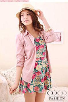 Grey Floral Print Sleeveless Pleated Korean Fashion Casual Day Dress