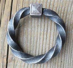 Raw, twisted ring pull Blacksmith Supplies, Craft Iron, Twist Ring, Blacksmithing, Old World, Rings, Furniture Hardware, Fasteners, Braces