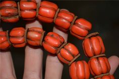 ancient old red coral bracelet prayer beads melon tibetan rosary mala antique