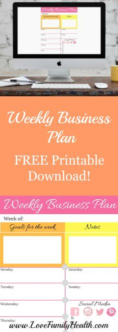 Weekly Business Plan, Stay organized and be successful!