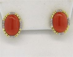 14k Gold Coral Diamond Earrings Featured in our upcoming auction on December 14, 2015 11:00AM EST!