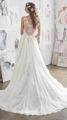 morilee spring 2017 bridal sleeveless strap sweetheart neckline heavily embellished bodice layered skirt romantic modified a  line wedding dress illusion lace back chapel train (5512) bv -- Morilee by Madeline Gardner Spring 2017 Wedding Dresses