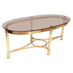 Oval Coffee Tables, Coffee Cocktails, Neoclassical, Cocktail Tables, Mid Century, Brass, Italy, Smoke, Furniture