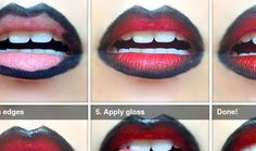 Lip Art Tutorial: Red & Black Ombre Lips   My Hijab