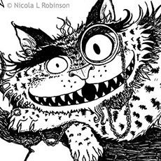 Nicola L robinson Pen and ink black and white illustrations Cheshire Cat Alice in Wonderland Illustration for childrens books fairytale classic illustrations thumbnail