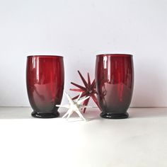 Vintage Ruby Red Glass Tumblers.