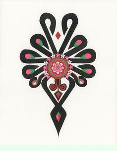 folk góralski wzór - Szukaj w Google Polish Embroidery, Embroidery Applique, Embroidery Designs, Polish Folk Art, Poland, Tatoos, Tatting, Wedding Invitations, Dragon