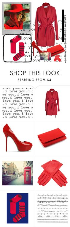 """Go Red"" by happysocks ❤ liked on Polyvore featuring Avalisa, Christine Phung, Sergio Rossi, Vegetarian Shoes, WALL, Buscarlet and Polaroid"