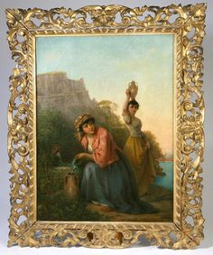 """Louis Lang (New York/Italy, 1814-1893) 30"""" x 22"""" oil on canvas of two ladies with water vessels."""
