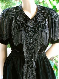 Antique Beaded Dress, Spectacular Victorian to Teens Beaded Trim Bodice on Black Velvet. Modified and Wearable. Bead Work Fantasy... 165.00, via Etsy.