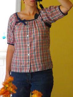 plaid men's shirt to darling vintage feel women's shirt