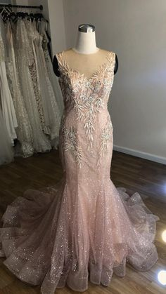 Bling blush pink mermaid bridal gown with sweetheart bodice and illusion neckline... Rose Gold Wedding Dress, V Neck Wedding Dress, Cute Wedding Dress, Stunning Wedding Dresses, Dream Wedding, Mermaid Prom Dresses, Pretty Dresses, Bridal Gowns, Wedding Gowns