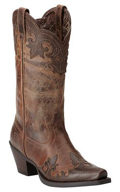 Ariat Women's Delphine Tigerseye Brown Wingtip Snip Toe Western Boots
