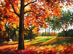 """FREEDOM OF AUTUMN PARK — PALETTE KNIFE Oil Painting On Canvas By Leonid Afremov - Size 30""""X40"""""""