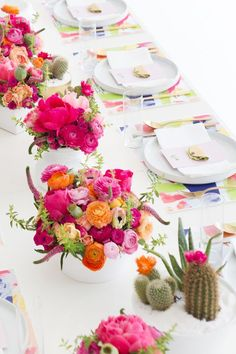 Colorful cactus inspired brunch. Would be so fun to celebrate a summer birthday with friends!