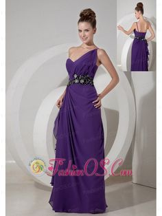 Sweet Purple Column One Shoulder Prom Dress Chiffon Beading Floor-length  http://www.fashionos.com  This purple gown features one shoulder strap that is encrusted with ruched details on the bodice. A coordinating waist sash adds interest and detail to the mid-section of the dress. The floor-length skirt with two bands create a beautiful shape to complete the dress. A bit retro and a lot gorgeous!