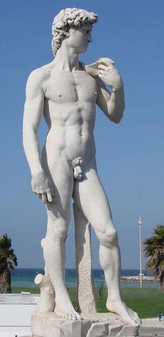Statue de David - Marseille. Cette statue est la réplique de la célèbre œuvre de Michel Ange qui a été offerte par le marbrier Jules Cantini. Cette statue annonce la mer, les plages.....