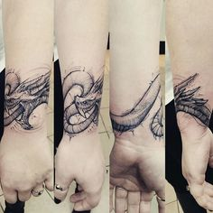 Dragon tattoo wrapped around the wrist by @jakedoestattoos @royalfleshtattoo