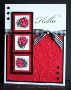 Ladybug Inchies. how cute. I love this layout. would be nice with a flower image on the side too.