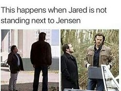 Omg!!! XD excellent. He is huuuge!! True Mooose!! Aaw. So Jensen makes Jared seem slightly less tall. But when next to anyone actually normal height, he makes them seem miniscule!! Aw.