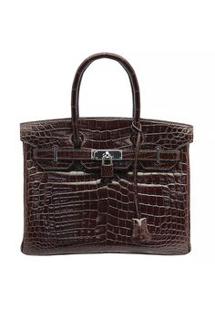 A brown Hermès Birkin 30 Bag in Niloticus crocodile leather. Palladium hardware. One interior compartment, one inner zippered pocket.