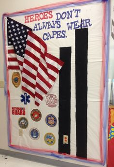 Veterans day bulletin board ideas - to decorate your classroom with meaningful decor Hero Bulletin Board, Classroom Bulletin Boards, Classroom Door, Classroom Themes, Classroom Organization, Superhero Classroom, Toddler Classroom, Patriots Day, Summer Reading Program