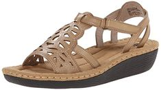 Cliffs by White Mountain Womens Chambray Wedge Sandal Stone 8 M US -- Click on the image for additional details.
