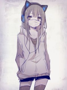 Girl with Blue headphones  and Cat ears