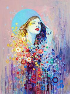 Emma Auber- painter Flowerbed  oil on canvas, 75cm x 100cm