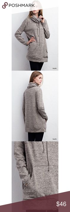 •BUY 2 GET 1 FREE• Taupe Marled Cowl Neck Sweater This sweater is SUPER soft and cozy for the winter months! Features long sleeves, cowl neck with self-tie, pockets, non-sheer. Model is 5'10 wearing a small.  . . . If you would like to make an offer, please use the OFFER BUTTON. {10% discount on all 2+ orders} . . FOLLOW US✌🏽️ Insta 📸: shop.likenarly Facebook📱: likenarly Website 🌐: likeNarly.com likeNarly Sweaters Cowl & Turtlenecks