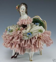Volkstedt Dresden Lace Pretty Lady Sitting on Chair Figurine | eBay