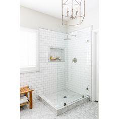White Bathroom | Subway Tile | Shower | Marble Floors | Lexi Westergard Design