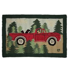 Hand-Hooked Wool Road Trip Hearth Rug features a festive red vintage truck with a pack of Labs in the woods. Designed by Vermont artist Laura Megroz. Bear Rug, Wool Applique, Rug Hooking, Woven Rug, Vintage Rugs, Quilt Blocks, Wool Felt, Making Ideas, Road Trip