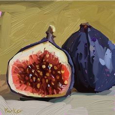 I've always wanted to paint a fig. That yummy green and purple drew me right in. Digital painting in Drawings Pinterest, Food Drawing, Drawing Faces, Drawing Tips, Fruit Painting, Watercolor Portraits, Art Sketchbook, Art Day, Painting Inspiration