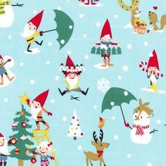 18 x 20 LAMINATED fabric - Christmas Gnomes cotton PUL fabric (aka oilcloth coated vinyl fabric) holiday Christmas Gnome, Christmas Fabric, Christmas Holidays, Christmas Crafts, Xmas, Christmas Skirt, Christmas Patterns, Christmas Things, Blue Christmas