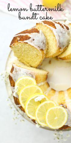 Lemon Buttermilk Bundt Cake, lemon cake, lemon pound cake, bundt cake recipe, summer cake, buttermilk recipes, what to make with buttermilk, lemon dessert, lemon glaze Pound Cake Recipes, Easy Cake Recipes, Cupcake Recipes, Sweet Recipes, Cupcake Cakes, Dessert Recipes, Cupcakes, Icing Recipes, Pie Recipes