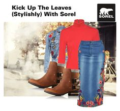 """""""Kick Up the Leaves (Stylishly) With SOREL: CONTEST ENTRY"""" by judithc-2900 ❤ liked on Polyvore featuring Ann Taylor, Alice + Olivia, SOREL, StreetStyle, denim, polyvorecontest, polyvorefashion and sorelstyle"""
