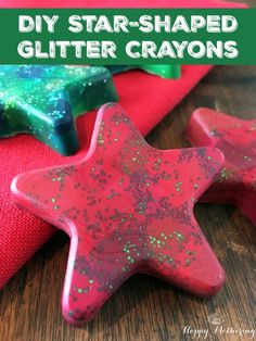 Tis the season for Christmas Crafts! These DIY Star-Shaped Glitter Crayons are a great way to use up broken crayons & they make great stocking stuffers too!
