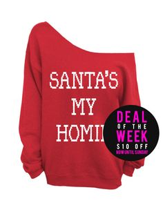 Santas My Homie - Ugly Christmas Sweater - Red Slouchy Oversized Sweater    Deal of the Week - Save $10 off this listing now until Sunday! (This item