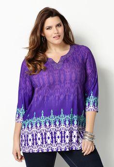 Embellished Border Print Tunic Top-Plus Size Tunic-Avenue