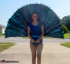 A peacock costume tail that can lift up and down!