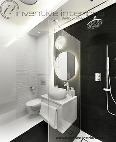 Projekt łazienki Inventive Interiors -  płytki fakturowe w czarno białej łazience