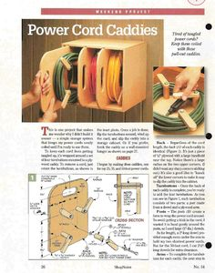 da Shopnotes issue 54 by echkbet - power cord caddies - Garage organization. Workshop Storage, Workshop Organization, Garage Workshop, Garage Organization, Tool Storage, Garage Storage, Shed Storage, Workshop Ideas, Storage Ideas